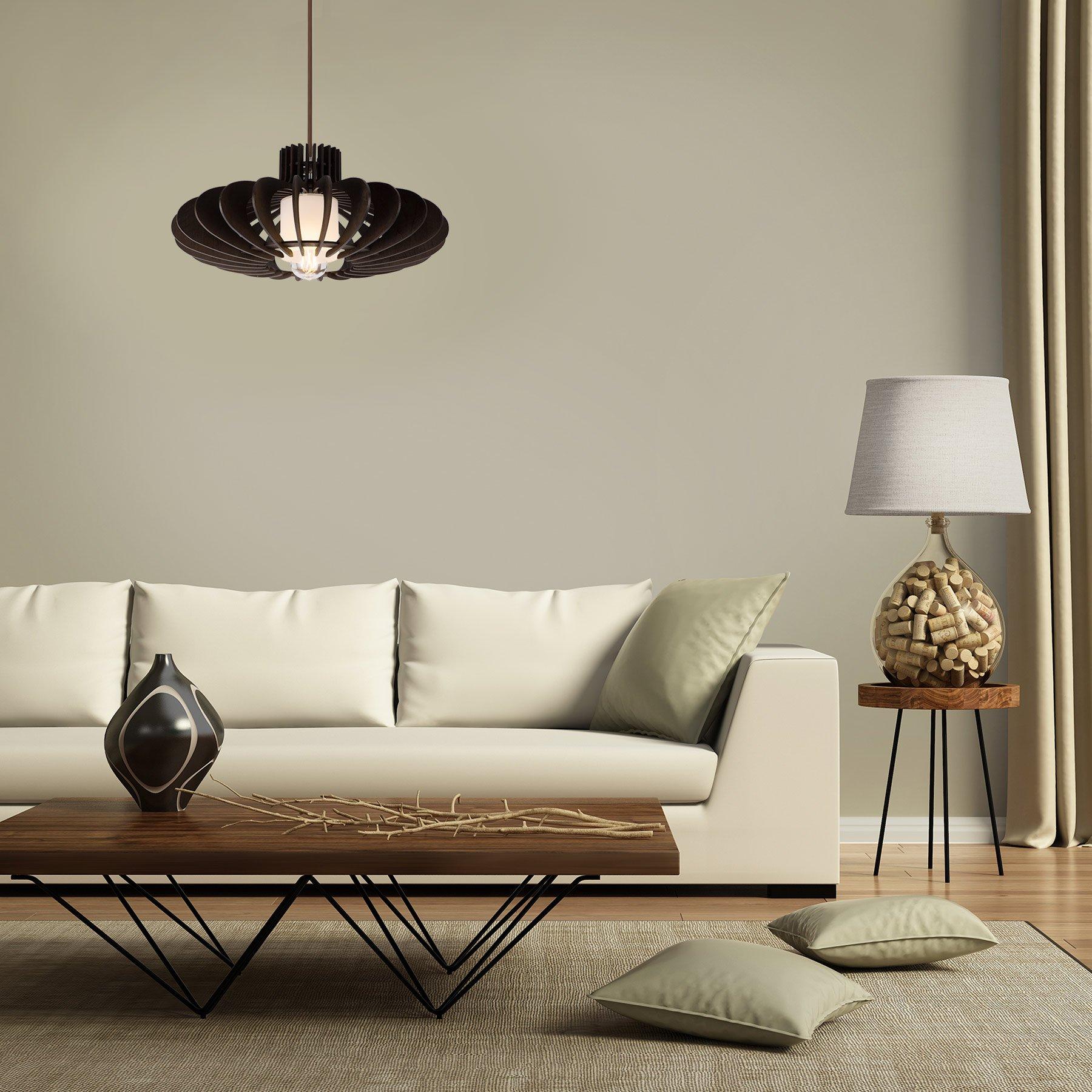 MAYKKE Oban Medium Wooden Pendant Lamp   Lantern Style with Dark Brown Rings, Hanging Light with Adjustable Cord   Walnut Wood Finish, MDB1040201 by Maykke (Image #7)