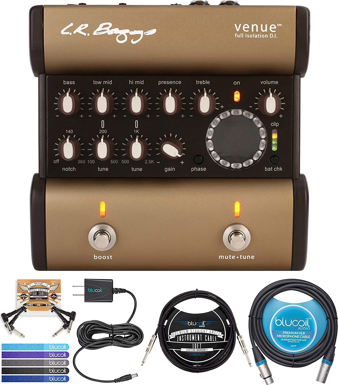 """LR Baggs Venue DI Acoustic Guitar Preamp Bundle with Blucoil Slim 9V Power Supply AC Adapter, 10' Straight Instrument Cable (1/4""""), 10-FT Balanced XLR Cable, 2x Patch Cables, and 5x Cable Ties"""