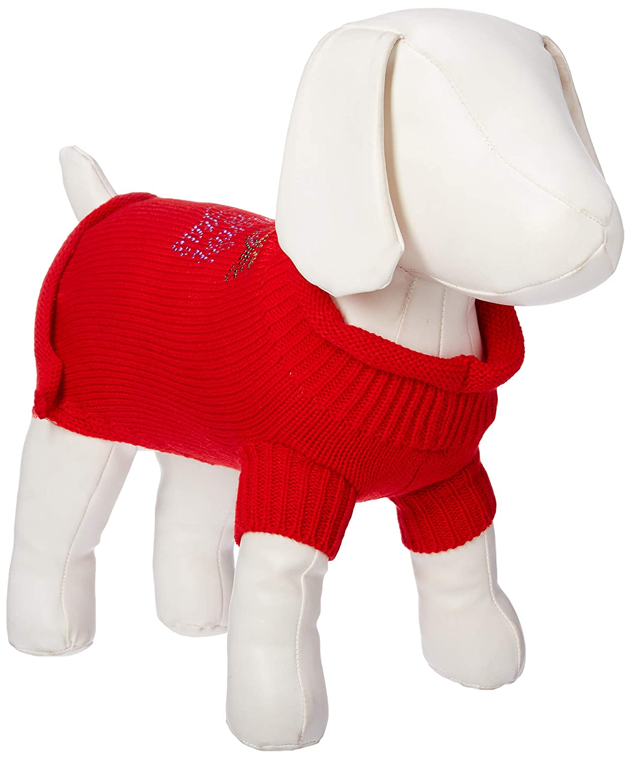 Red Small Red Small Mirage Pet Products Mardi Gras Rhinestud Knit Pet Sweater, Small, Red