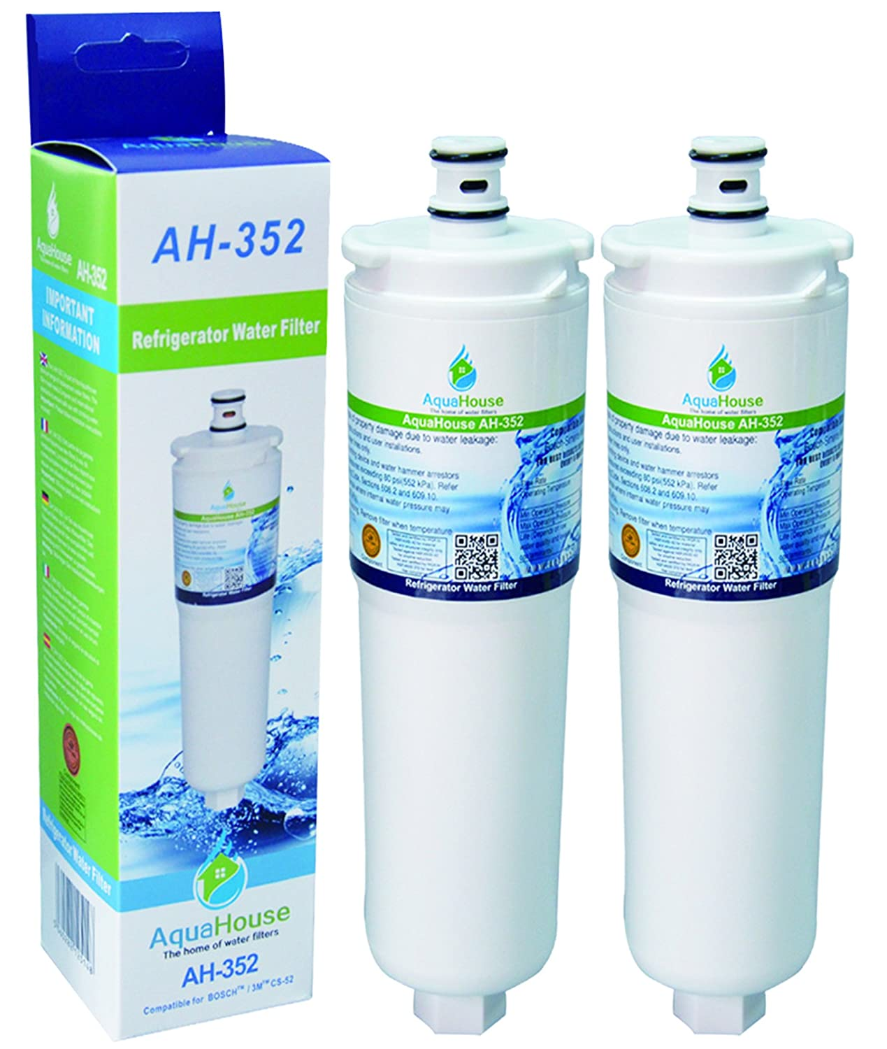 2x AH-352 Compatible for CS-52 water filter fits Bosch Neff Siemens fridge filter CS-452, CS-51, 640565, 5586605 AquaHouse