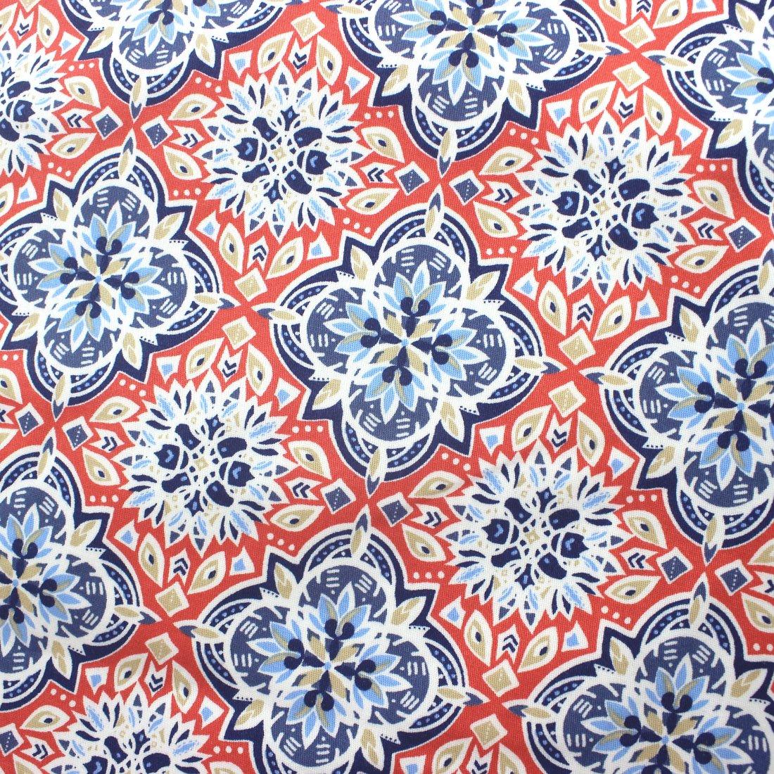 ROCK ATOLL Colorful Red Moroccan Tile Mosaic Print Slim Fit Mens Chino Shorts