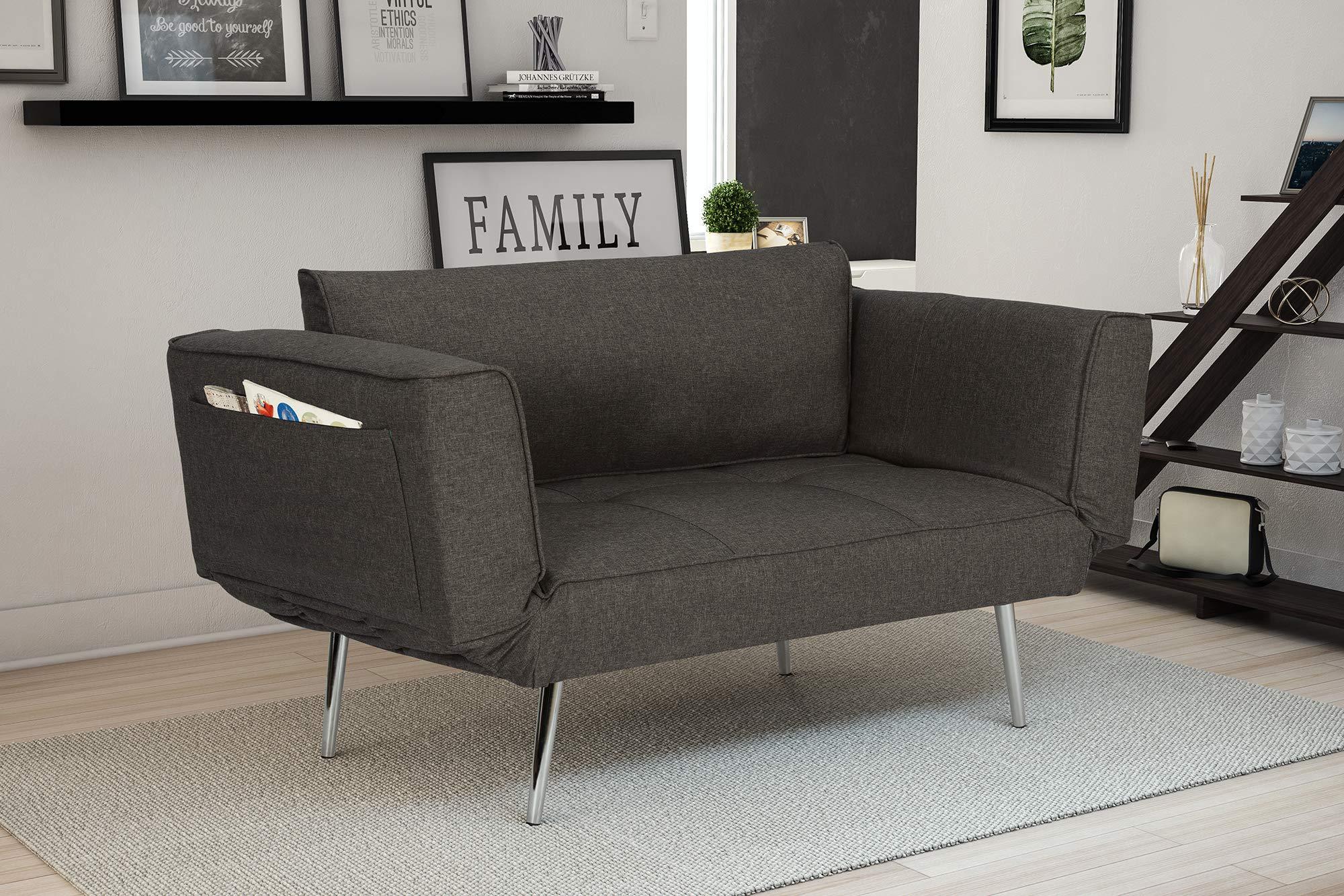 Novogratz Leyla Loveseat, Multifunctional and Modern Design, Adjustable Armrests to Create a Couch Sleeper -Grey by Novogratz