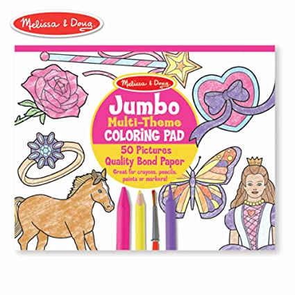 """Melissa & Doug Jumbo 50-Page Kids\' Coloring Pad Paper; 11"""" x 14"""" Oversized  Sheets; Horses, Hearts, Flowers, and More)"""