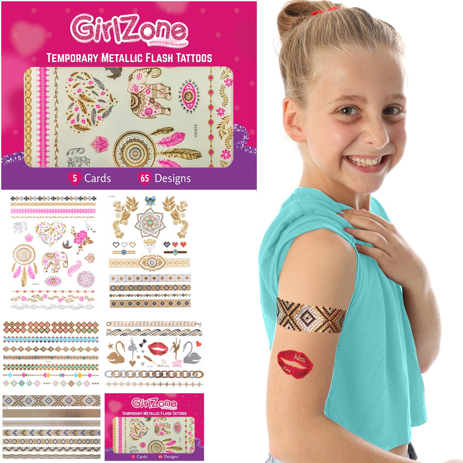 GirlZone Gifts Girls: Flash Tattoos Girls - Metallic, Temporary Tattoos - 5 Card Pack - 65 Designs.. Makes A Great Birthday Present Gift Girls Aged 4 5 6 7 8 9 10 Years Old