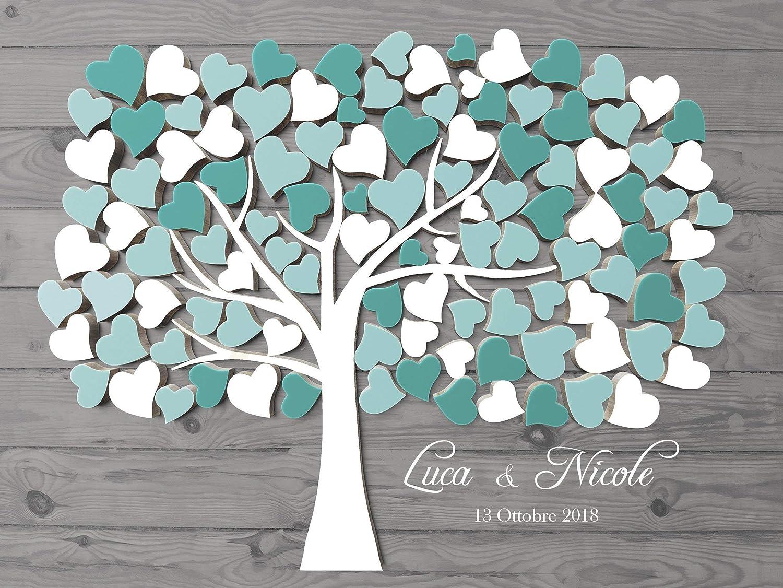 Lalbero della vita tela impronte digitali albero matrimonio libro degli ospiti 80x60 cm Vintage Wedding Tree