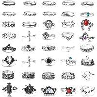 FIBO STEEL 42 Pcs Vintage Knuckle Rings for Women Girls Stackable Midi Finger Ring Set