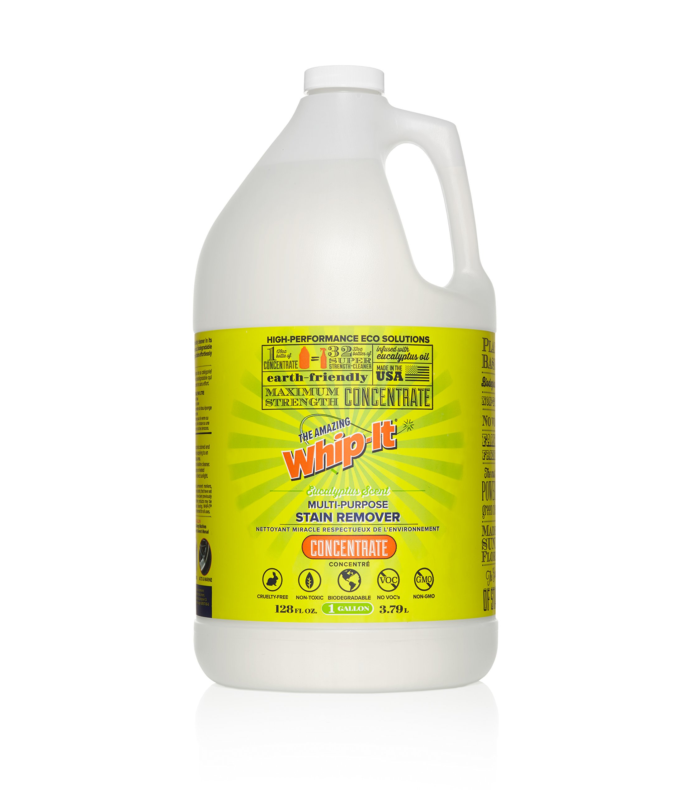 Whip-It Multi-Purpose Stain Remover - 128oz Concentrate - Plant-Based with All 6 Enzymes - All Natural - Made in USA