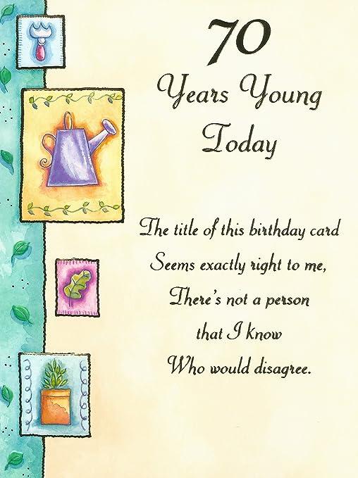 70 años joven hoy tarjeta del feliz cumpleaños: Amazon.es: Hogar