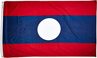 product image for Annin Flagmakers Model 194597 Laos Flag Nylon SolarGuard NYL-Glo, 5x8 ft, 100% Made in USA to Official United Nations Design Specifications