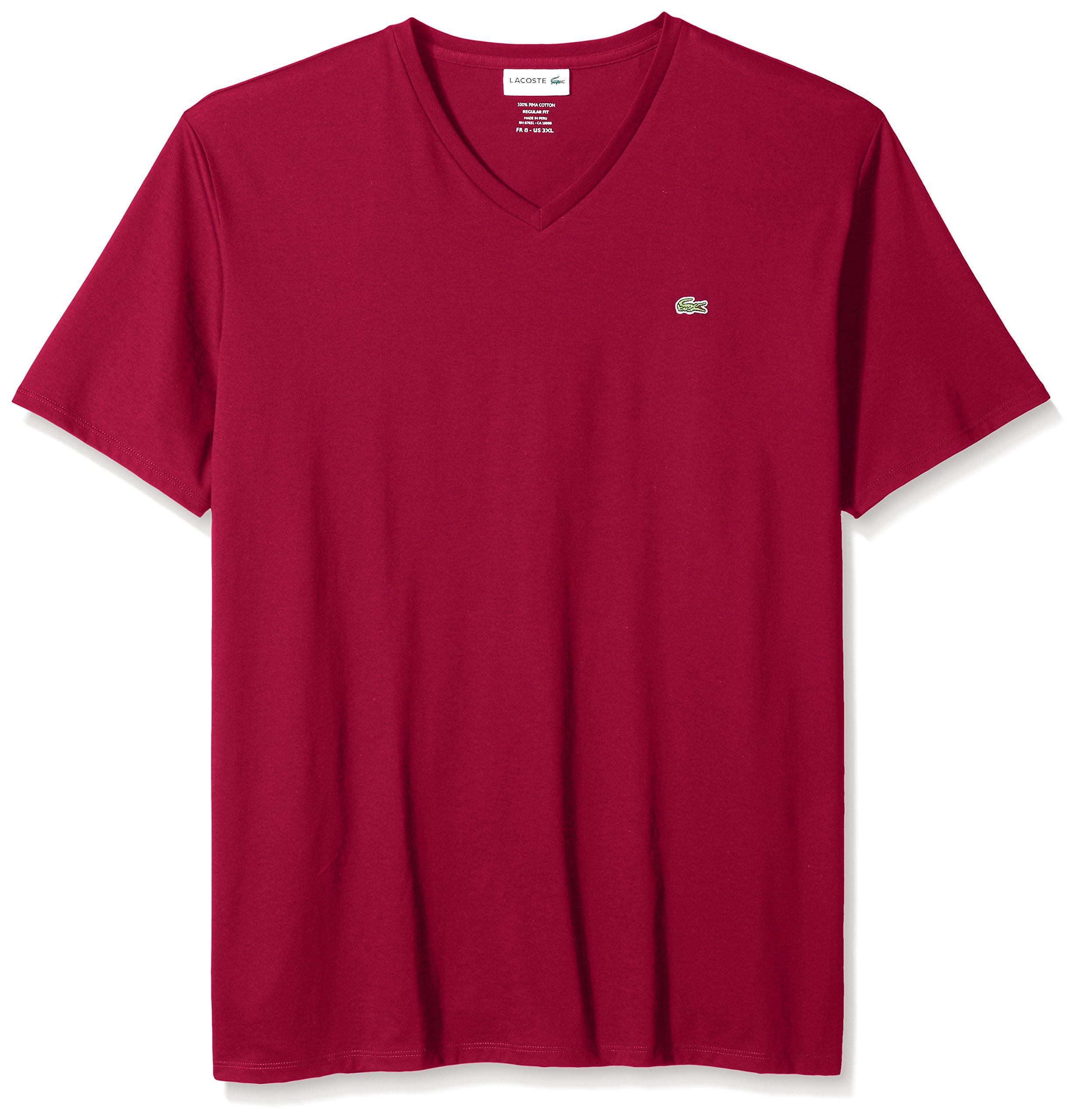 Lacoste Men's Short Sleeve V Neck Pima Jersey T-Shirt, TH6710, Bordeaux, Medium