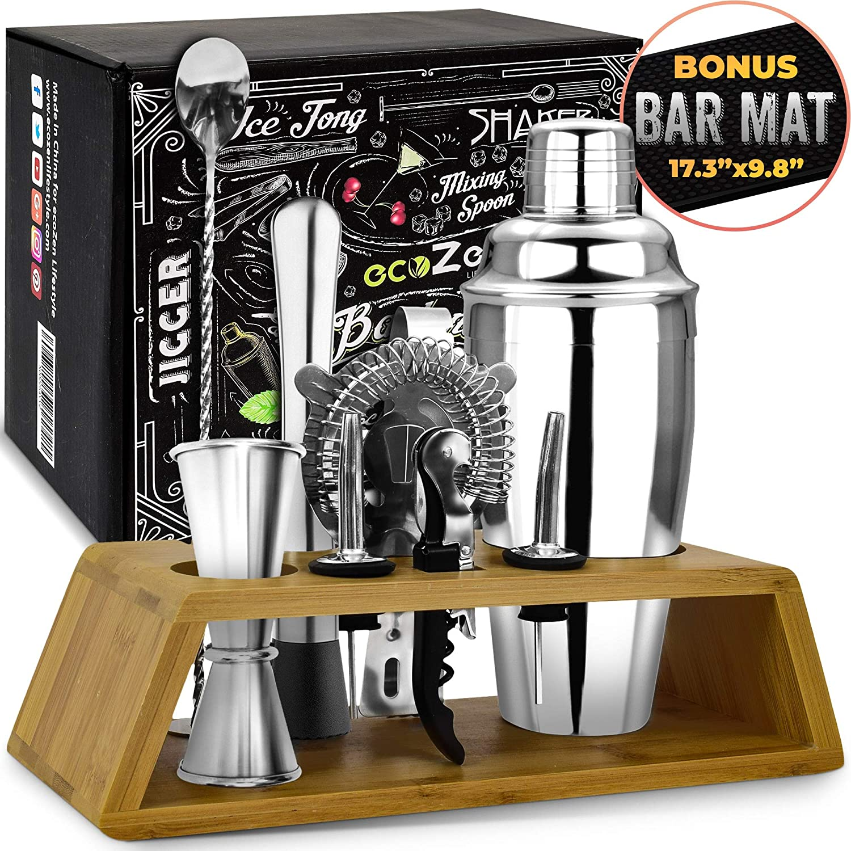 Bar Set Cocktail Shaker Set with Bonus Bar Mat (11 Pieces) | Bartender Tool Kit with Elegant Wooden Stand | Premium Cocktail Mixing Set | | Best Gifts Ideas for Him (Husband, Boyfriend, Friends, Dad