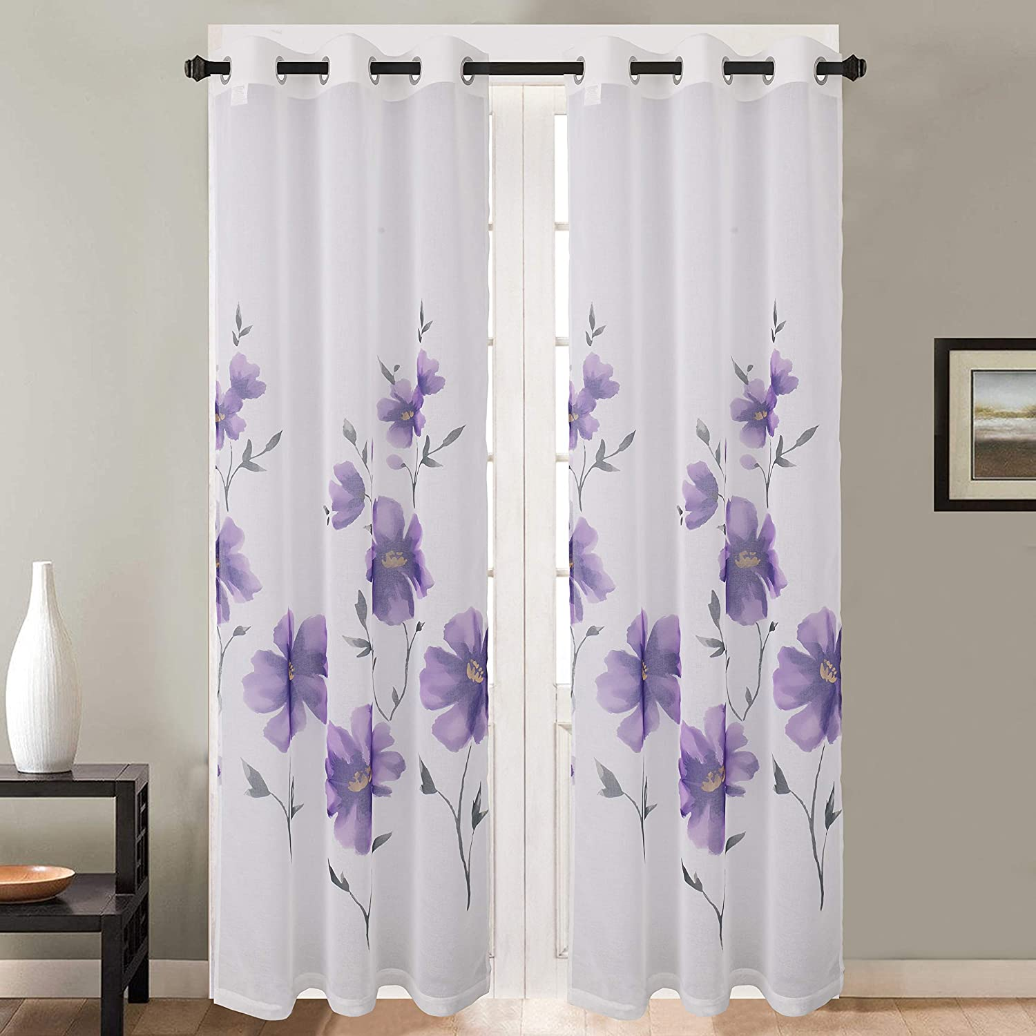 Dainty Home Victoria Printed 76x84'' Sheer Grommet Panel Pair with Floral Pattern, Violet