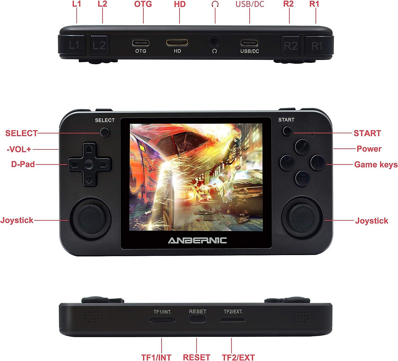 3.5 Pouces IPS /écran Console de Jeux vid/éo Portable HDMI Output Consoles de Jeux Portables RG350M Console de Jeux Retro OpenDingux Tony System Free with 32G TF Card Built-in 2500 Jeux Noir