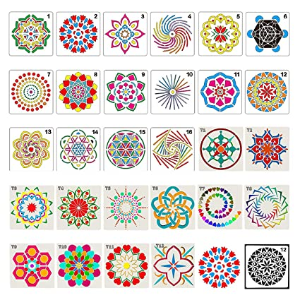 Amazon com: 28 Pack Mandala Dot Painting Templates Stencils
