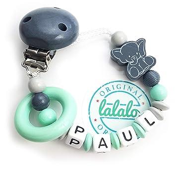 Schnullerkette mit Wunsch-Namen Eule Auto für Jungen oder Mädchen Baby Taufe