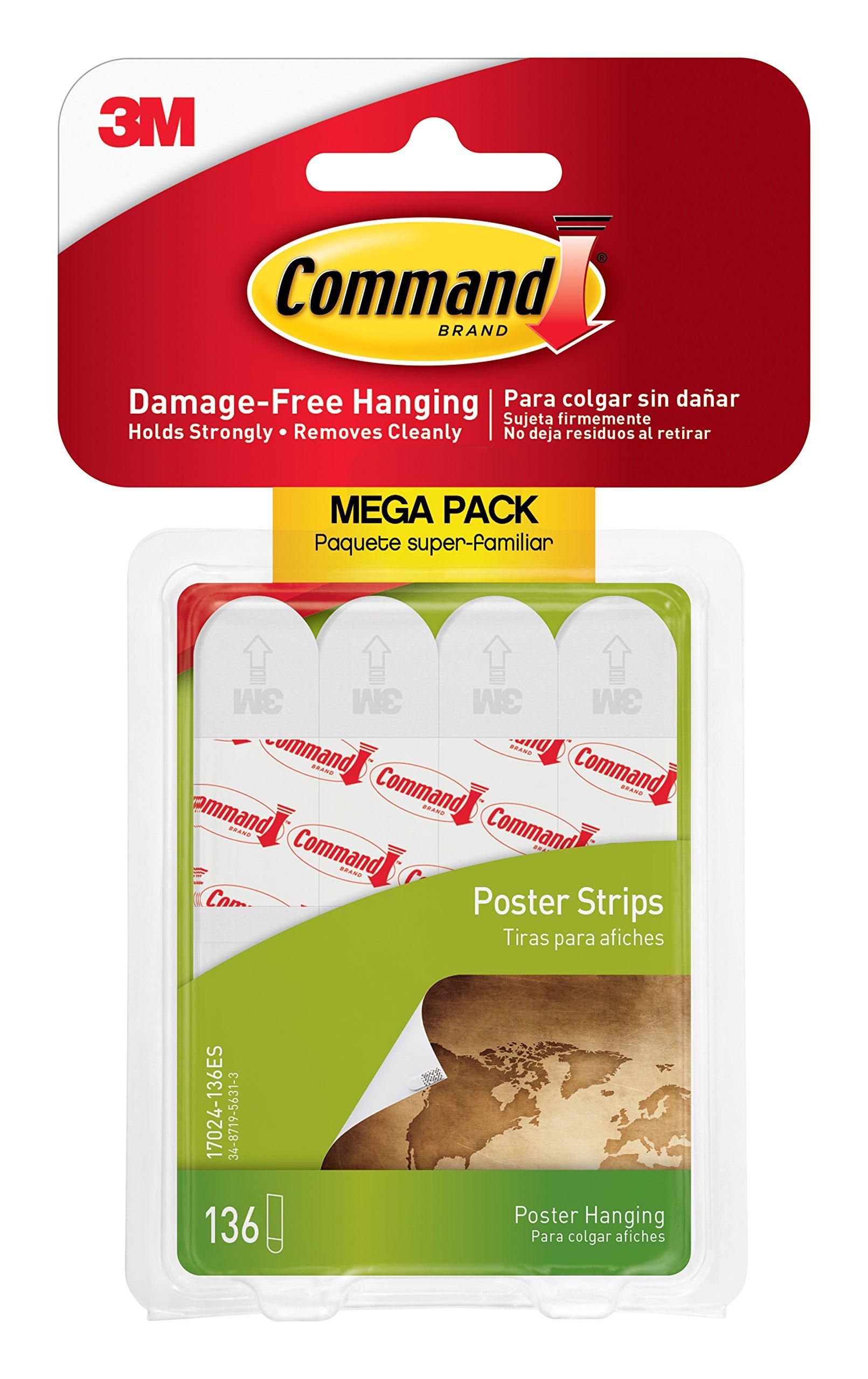 Command 17024-136ES Poster Mega-Pack Value, 136 Strips, White