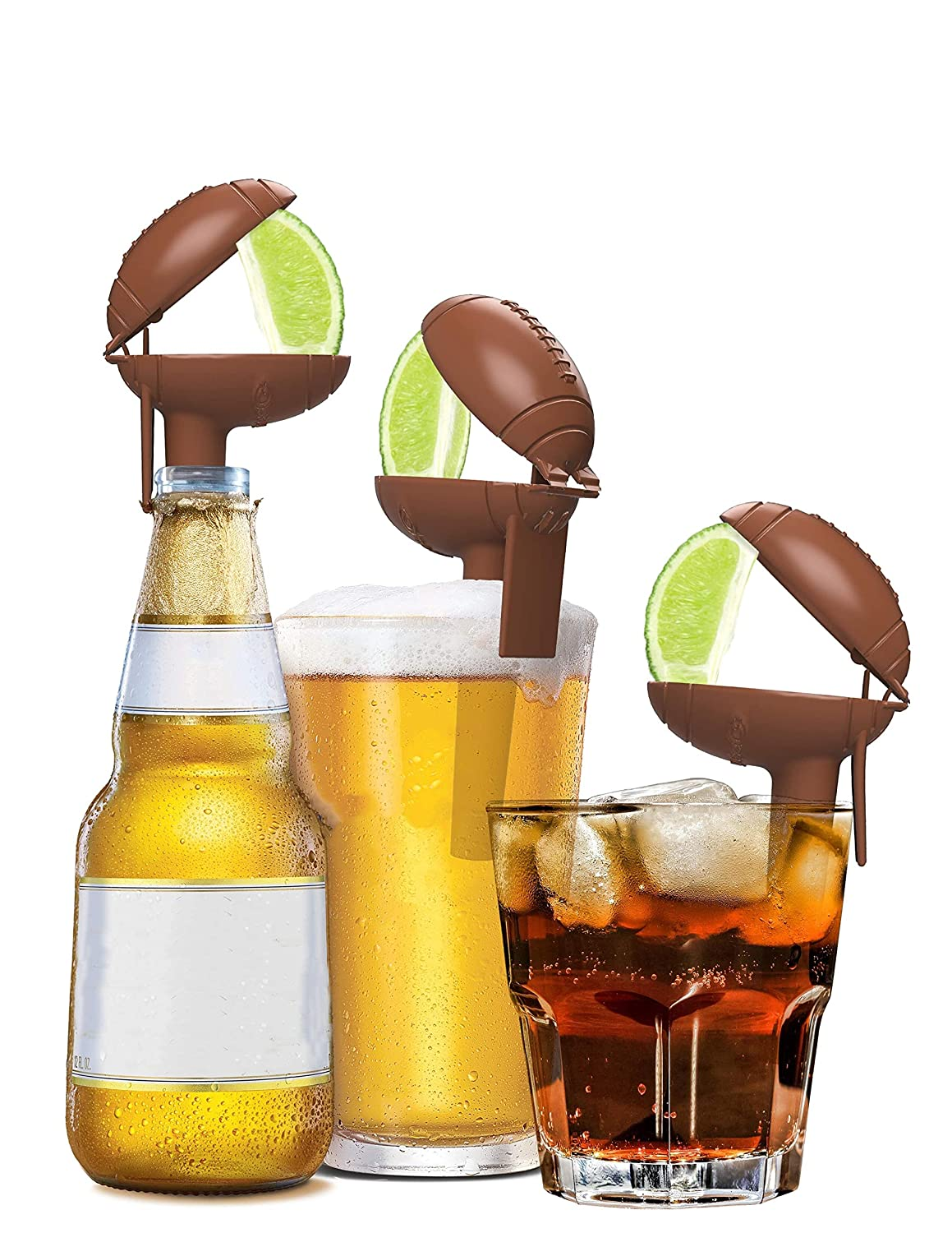Football Edition HeadLimes Clip-On Citrus Squeezer Adds Lime or Lemon Directly to a Drink- a Fun Novelty Party Gift 8-pack Handheld Juicer or Bar Accessory