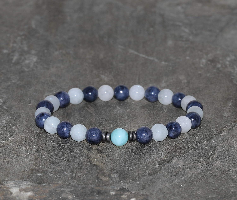 Pulsera de Zafiro Azul, Larimar y Aguamarina de 6 mm, Piedras Preciosas Naturales de Grado AAA, Espaciadores Gunmetal, Brazalete de los Elementos, Agua