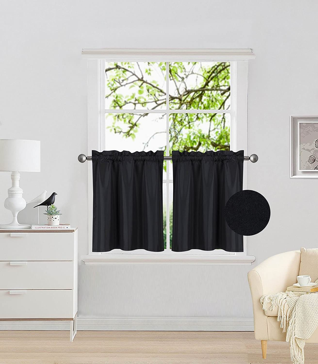 "Elegant Home 2 Panels Tiers Small Window Treatment Curtain Insulated Blackout Drape Short Panel 30"" W X 24"" L Each for Kitchen Bathroom or Any Small Window # R16 (Black)"