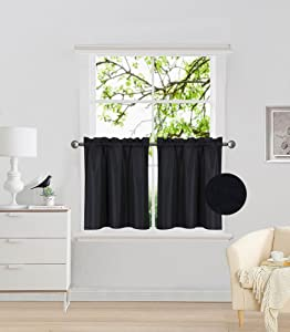 """Elegant Home 2 Panels Tiers Small Window Treatment Curtain Insulated Blackout Drape Short Panel 30"""" W X 24"""" L Each for Kitchen Bathroom or Any Small Window # R16 (Black)"""
