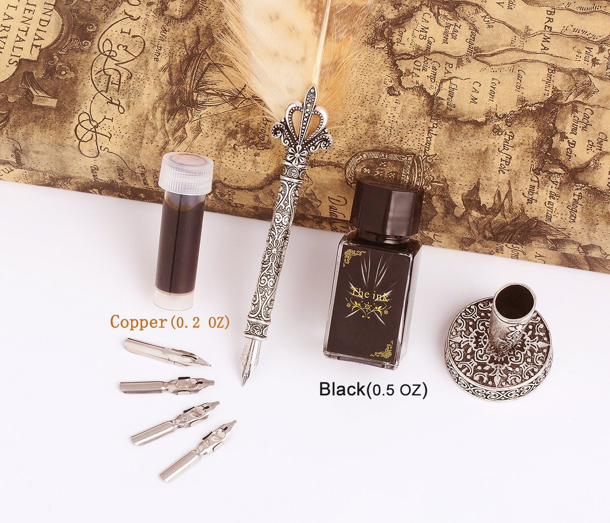 Calligraphy Quill Pen Ink Set, SunMirror Antique Feather Dip Pen Kit Writing Quill Storage Ink Dip Pen Gift Set (Owl) by SunMirror (Image #3)