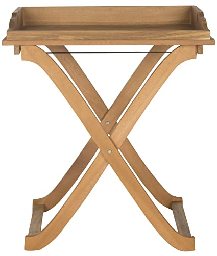 Safavieh Outdoor Living Collection Covina Tray Table, Teak Brown