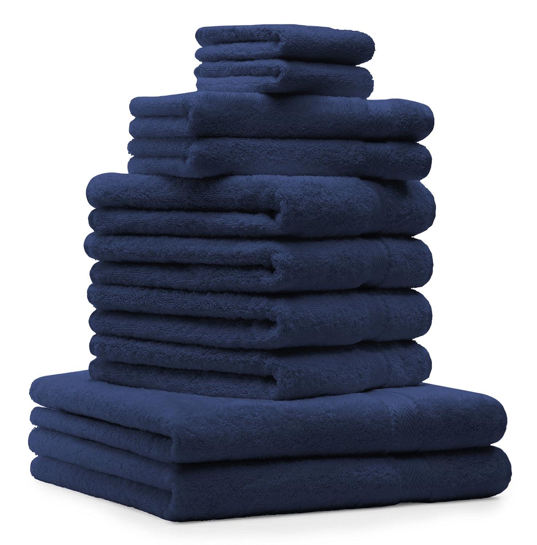 BETZ Juego de 10 Toallas Classic 100% algodón 2 Toallas de baño 4 Toallas de Lavabo 2 Toallas de tocador 2 Toallas faciales Azul Oscuro: Amazon.es: Hogar