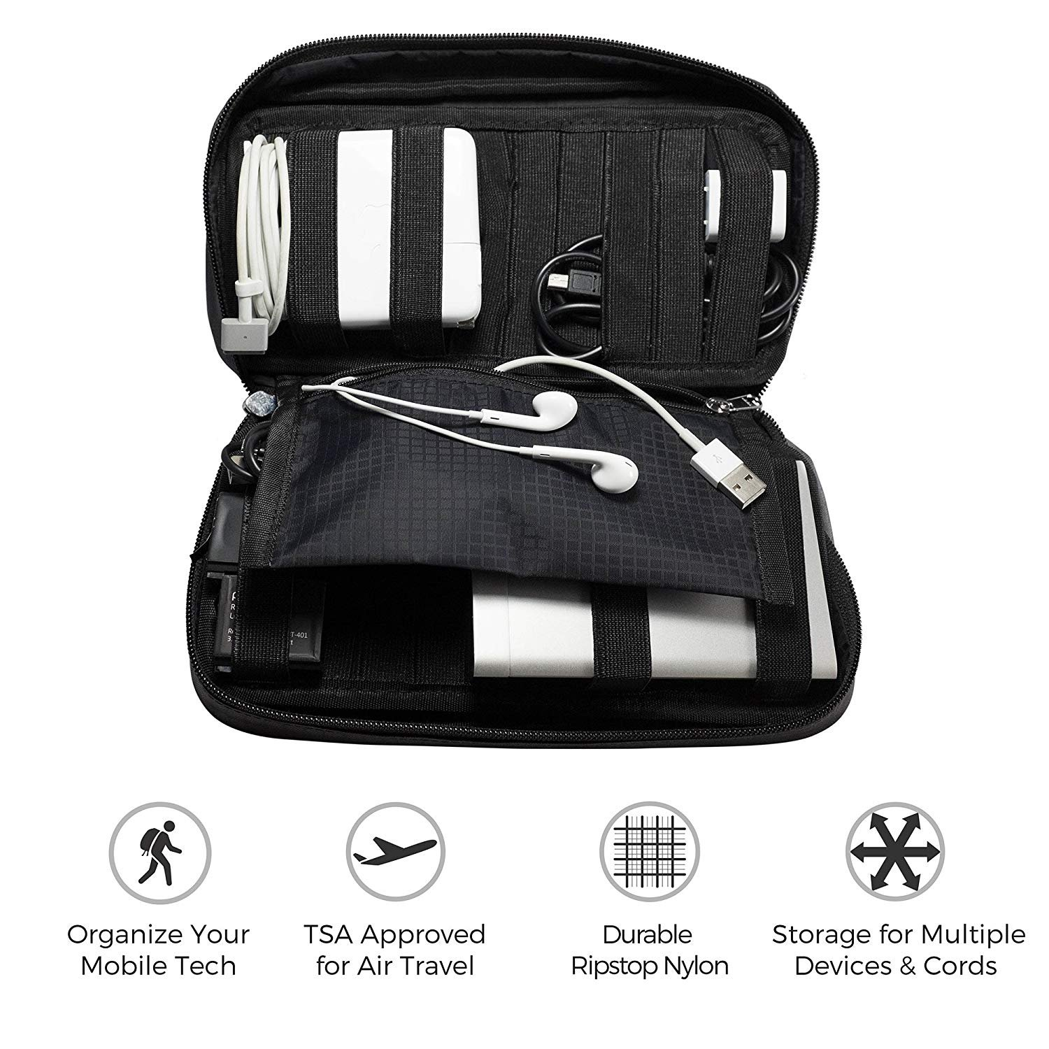 Amazon Zero Grid Electronics Travel Organizer Cord Cable and Accessories Case Black Electronics