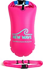 New Wave Swim Buoy - Swimming Safety Float and Drybag for Open Water Swimmers Triathletes Kayakers Snorkelers, Open Water Swim Buoy Float for Safer Swim Training (PVC 15 Liter Pink)