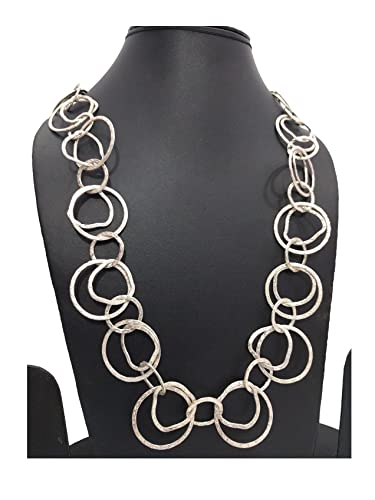 Buy Fashion Long Necklace with Textured Rings Intertwined Opera ...