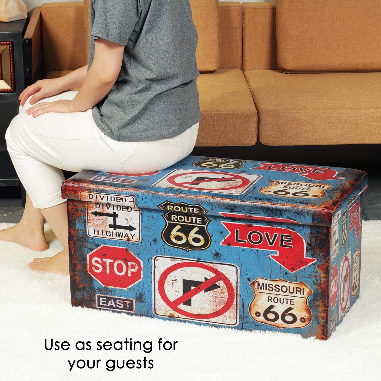 Pouf contenitore pieghevole a doppia seduta in similpelle 76 x 38 x 38 cm Bonlife panchina per giocattoli doppia seduta