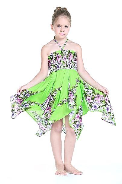 Niña gitano Botón desigual Hawaiian Luau vestido en Verde lima 8