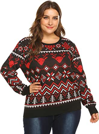 IN'VOLAND Plus Size Women's Ugly Sweater,Reindeer Snowflake Pullover Sweater Jumper 16W-24W/XL-5XL