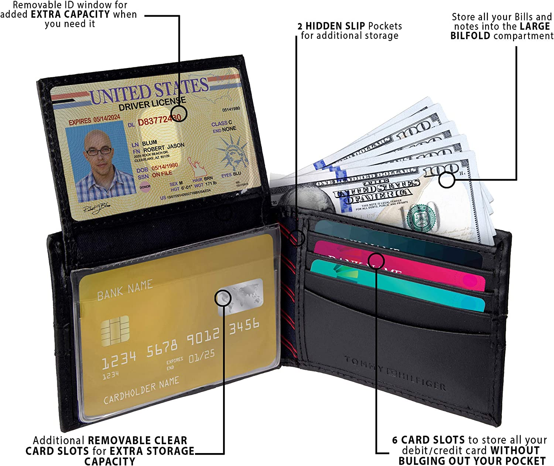 Tommy Hilfiger Mens Leather Credit Card Wallet Bifold Organizer 31tl22x062 Brown