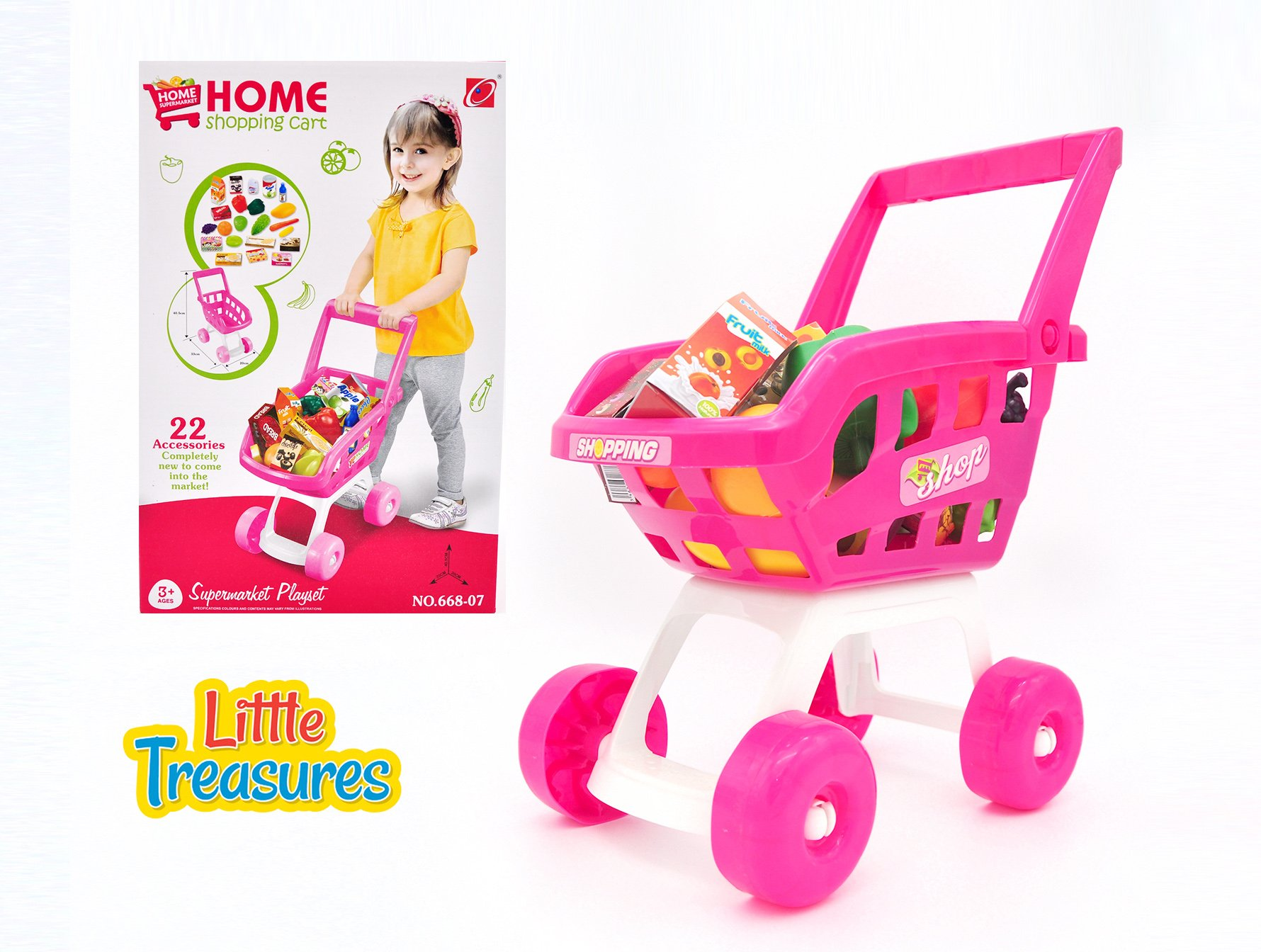 Home Shopping Cart 22-pieced educational fun game for kids 3+ easily movable, handy shopping trolley basket with various toy items including fruits, vegetables, milk carton, cheese box, and more!