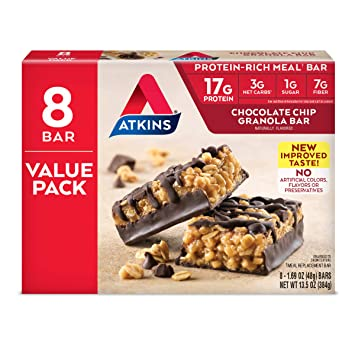 Amazon.com: Atkins Protein-Rich Meal Bar, Chocolate Chip ...
