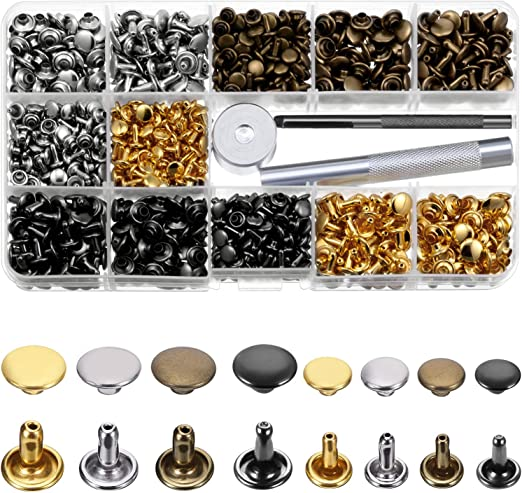 TOPSEAS Remaches de Cuero,Remache de Doble 120 sets de corchetes metal artesan/ía de kit snap bot/ón para reparar chaqueta de 12mm snaps botones de presi/ón de cuero de herramineta conjunto bronce