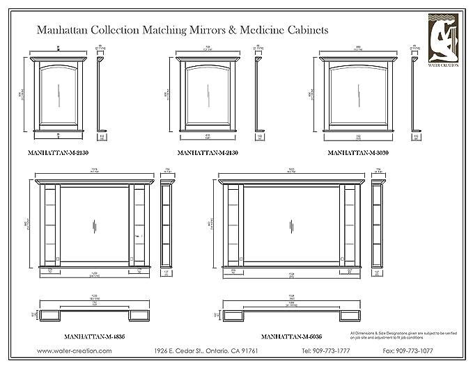 Water Creation MANHATTAN MC 4836 Manhattan Collection Matching Medicine  Cabinet For Manhattan48 Bathroom Vanity     Amazon.com