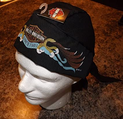 869aa279157 Image Unavailable. Image not available for. Color  Genuine Harley Davidson  Black Skull Cap Doo Du Rag ...