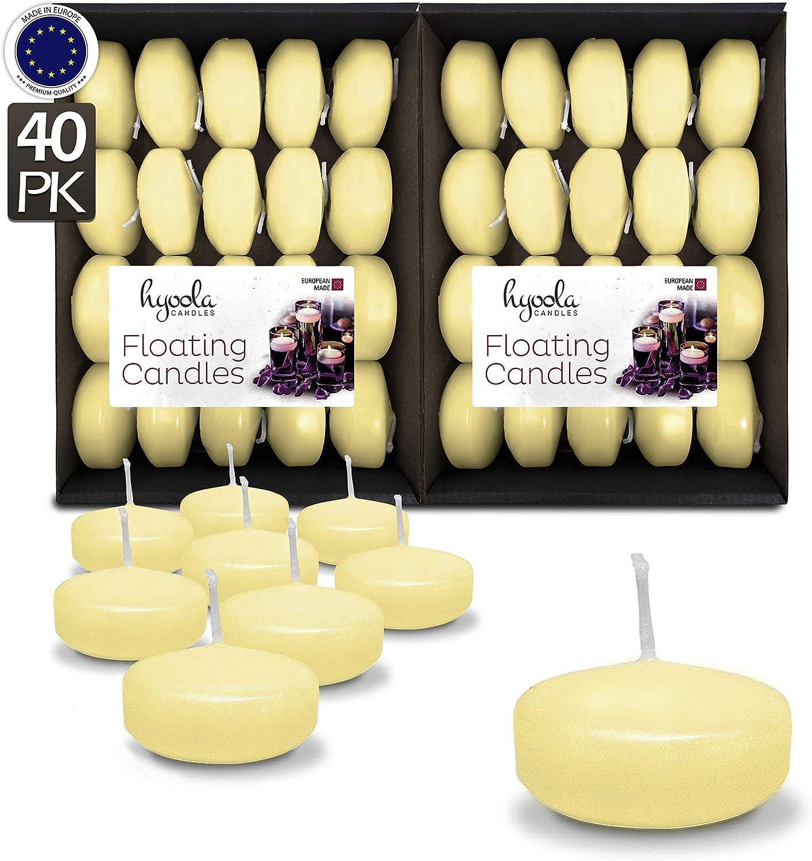 Hyoola Lot de 60 Bougies flottantes Blanches de qualit/é sup/érieure Fabriqu/ées dans lUE 4 Heures 5,1 cm