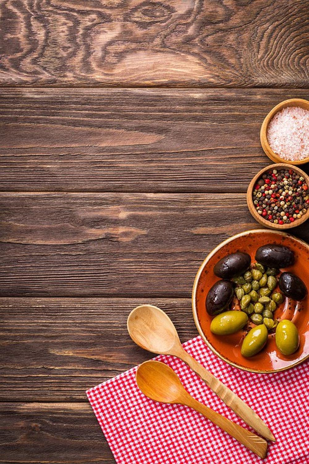 Laminated 24x36 inches Poster: Background Food Tasty Olives Wooden Background Cooking Plate Kitchen Gourmet Nutrition Dish Delicious Appetizer Gastronomy Dinner Salt Pepper Table Spices Spoons
