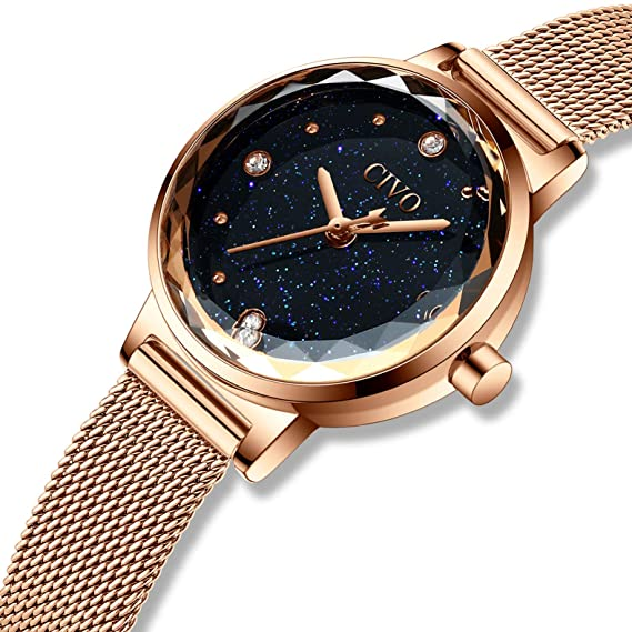 CIVO Relojes para Mujer Reloj Damas de Malla Impermeable Silm Minimalista Oro  Rosa Elegante Banda de Acero Inoxidable Relojes de Pulsera Moda Lujo Vestir  ... 3b46bff1ccd6