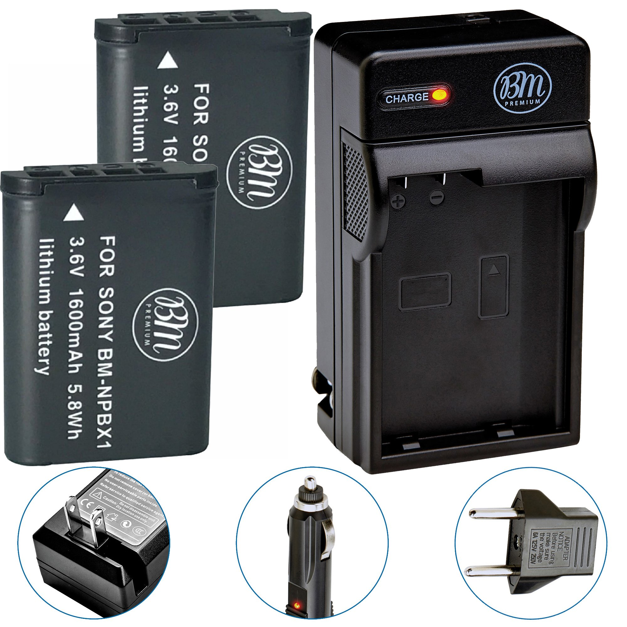 BM Premium 2 NP-BX1 NP-BX1/M8 Batteries and Charger for Sony CyberShot DSC-RX100, RX100 II, RX100 III, RX100 IV, RX100 V, RX100 VI, DSC-RX1R, RX1R II, HX50V, HX60V, HX80V, HX90V, WX300, WX350 Cameras