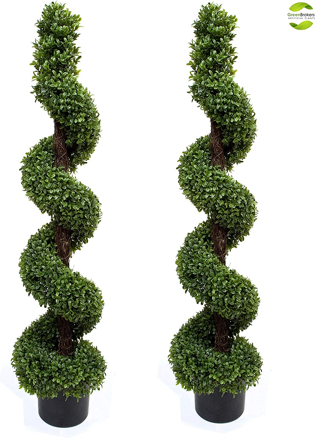 Artificial Topiary Boxwood Spiral Trees 4ft 120cm Pack Of 2 Amazon Co Uk Garden Outdoors