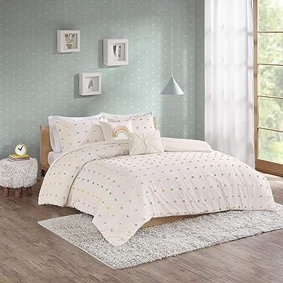Urban Habitat Kids Callie Comforter Reversible 100% Cotton Jacquard Weave Colorful Poms Dots Soft Overfilled Down Alternative Hypoallergenic All Season Bedding-Set, Full/Queen, Multi: Home & Kitchen