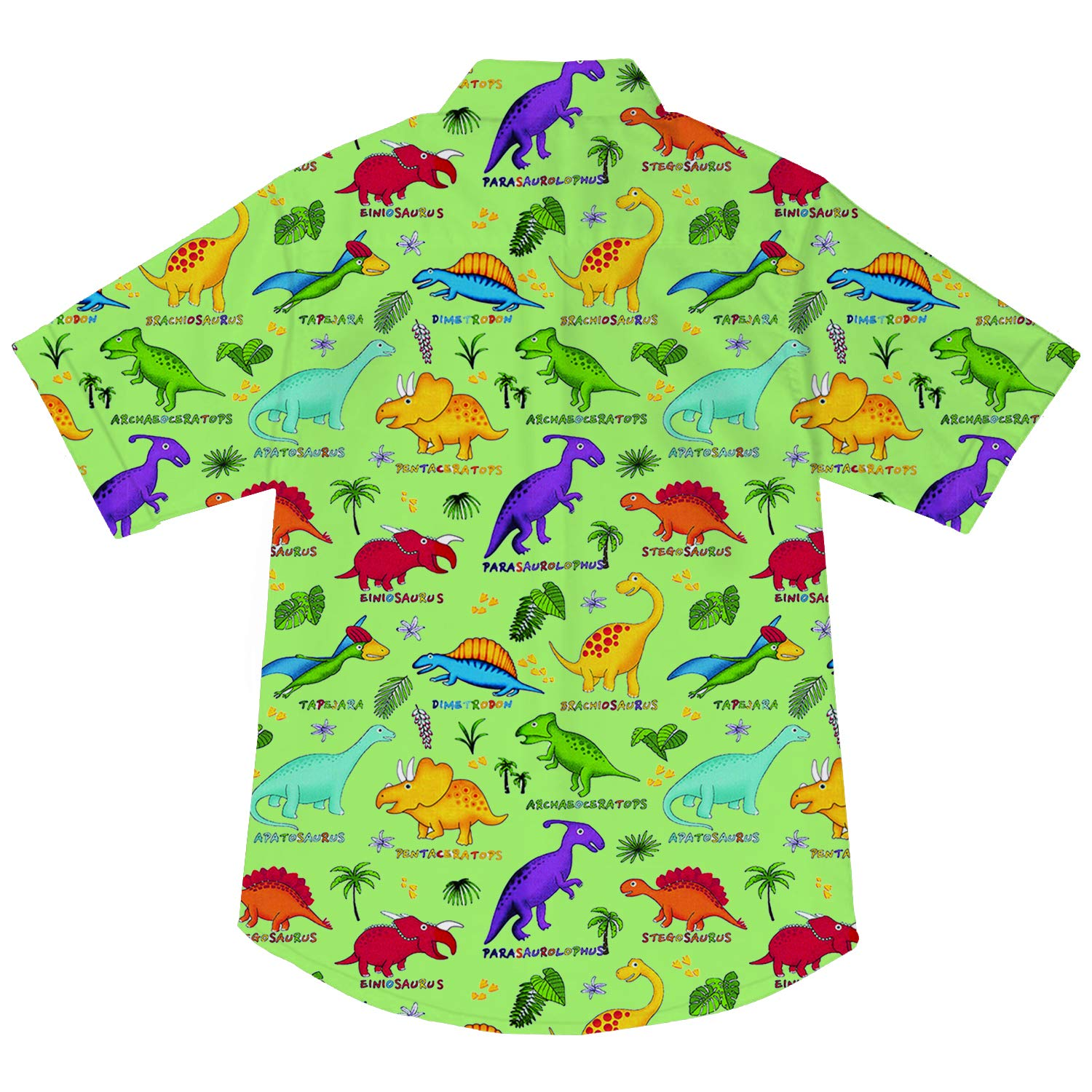 Goodstoworld Boys Button Down Shirts Kids Casual Short Sleeve Cotton Button Up Cool Dinosaur Print Tees Tops Blouse 5-6T by Goodstoworld (Image #3)