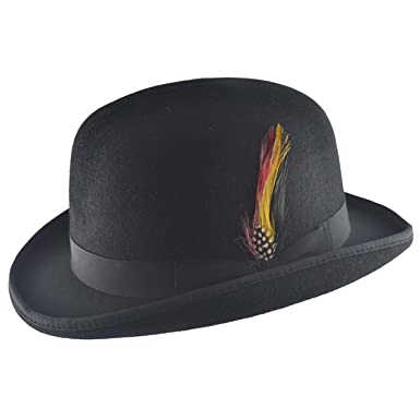 Mens Vintage 100% Wool Felt English Bowler Derby Hat Removable Feather and  Pin in Black b1e00f74f48