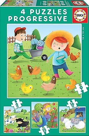 Educa - Puzzles Progresivos puzzle infantil Animales de la Granja de 6,9,12 y 16 piezas, a partir de 3 años (17145): Amazon.es: Juguetes y juegos