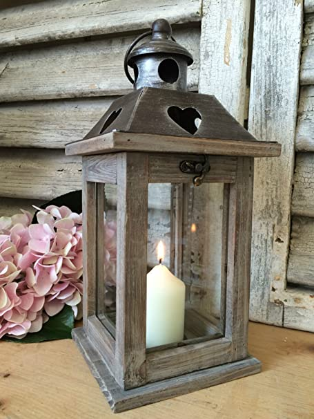 Industrial Wooden Candle Lantern Glass Hurricane Outdoor Indoor Tea Light Holder