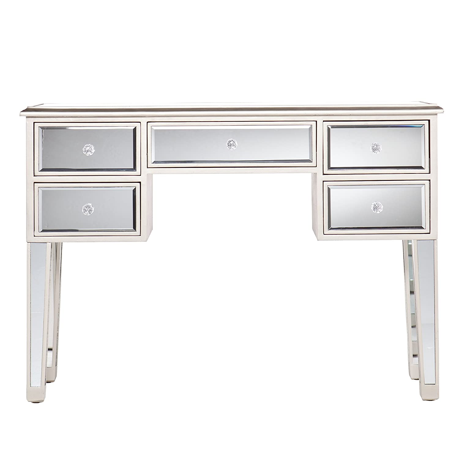 Mirage Mirrored Desk Console Table – Mirror Surface w Champagne Trim – Glam Style